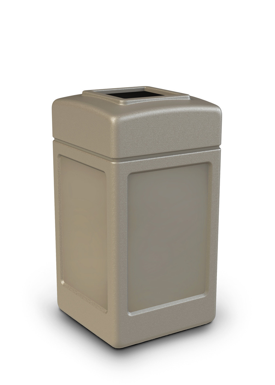 42 Gallon All Season Indoor Outdoor Square Plastic Garbage Can Beige