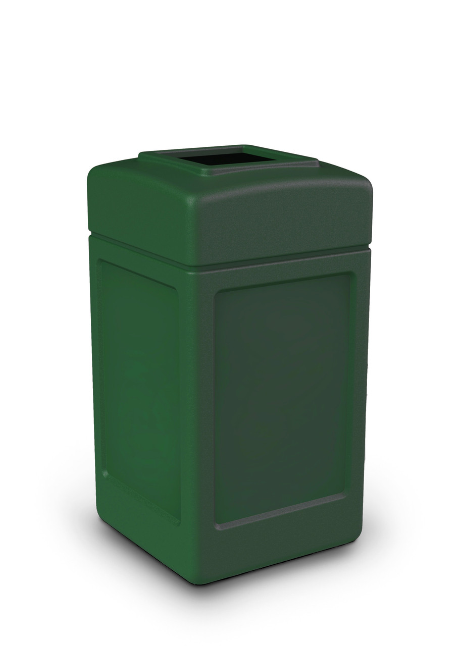 42 Gallon All Season Indoor Outdoor Square Plastic Garbage Can Green