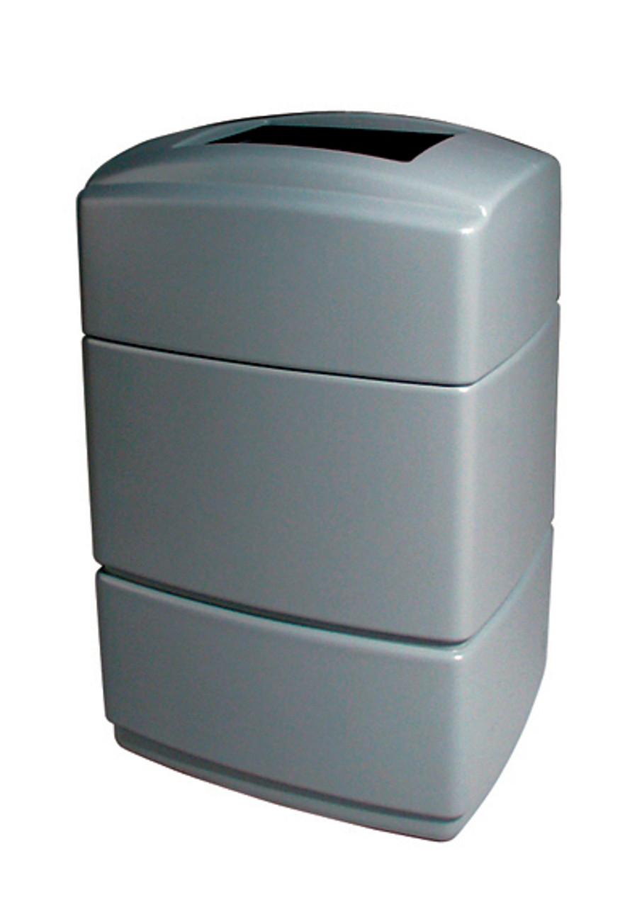 40 Gallon All Season Rectangular Plastic Indoor Outdoor Garbage Can Exxon Silver