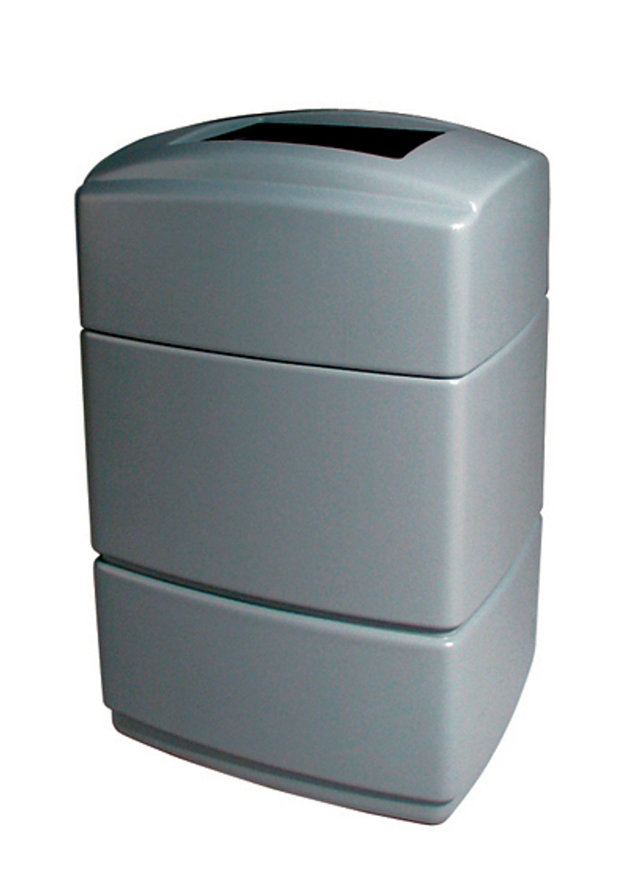 40 Gallon All Season Rectangular Plastic Indoor Outdoor Garbage Can Exxon Silver