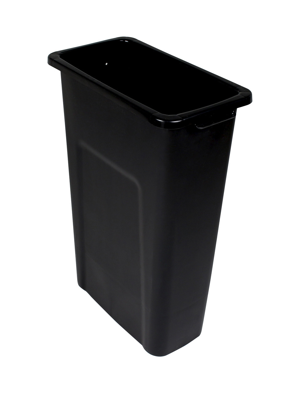 23 Gallon Skinny Trash Can Pre-Drilled for Signs Black
