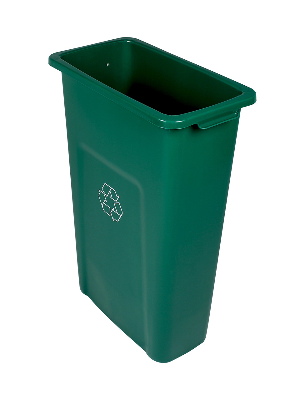 23 Gallon Skinny Recycling Bin Pre-Drilled for Signs Green