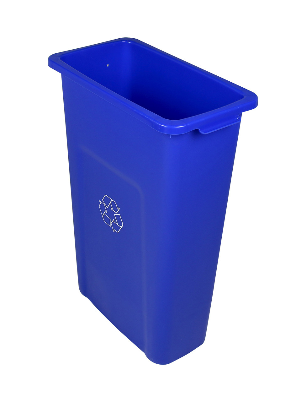 23 Gallon Skinny Recycling Bin Pre-Drilled for Signs Blue