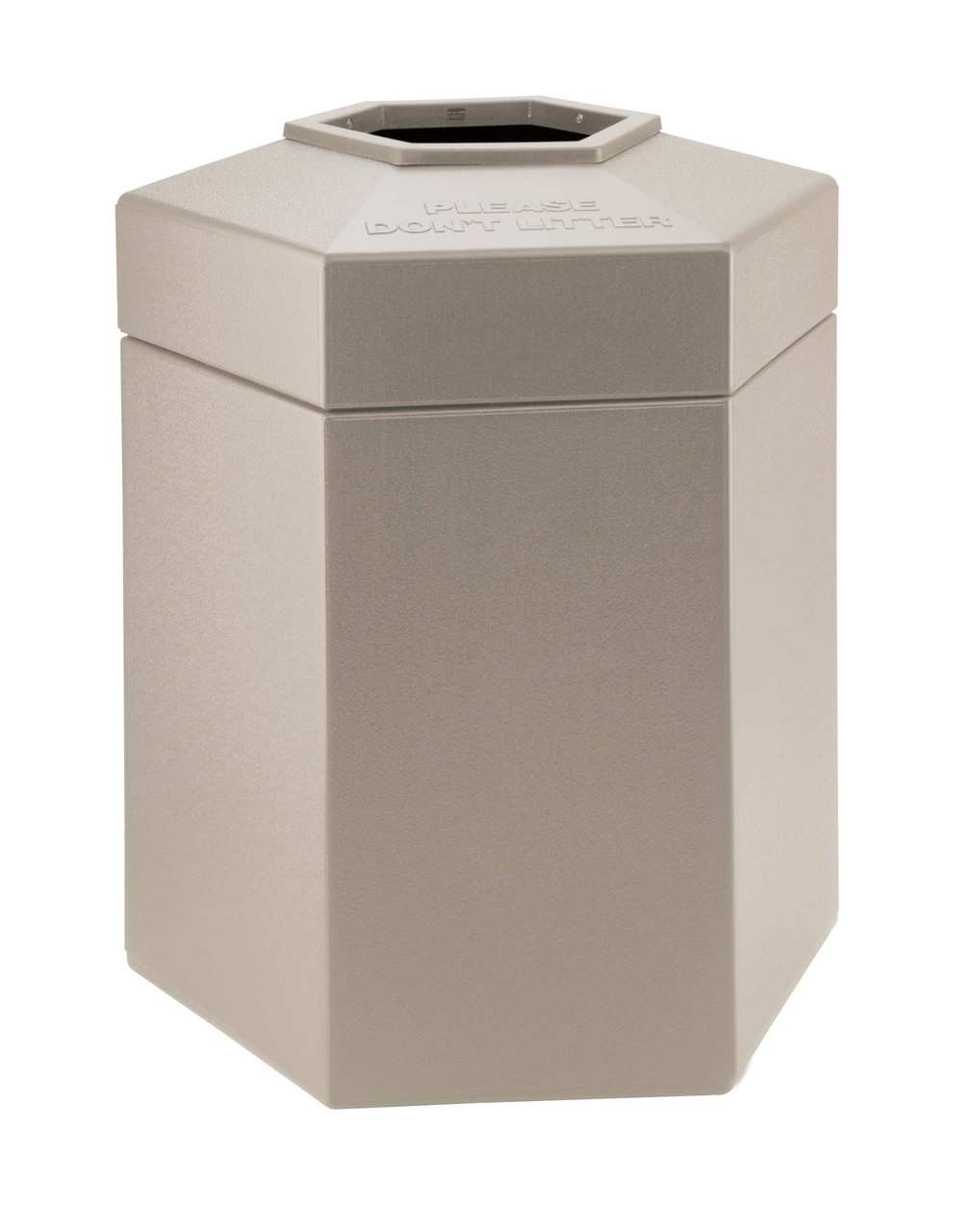 45 Gallon All Season Indoor Outdoor Hexagon Plastic Garbage Can Beige