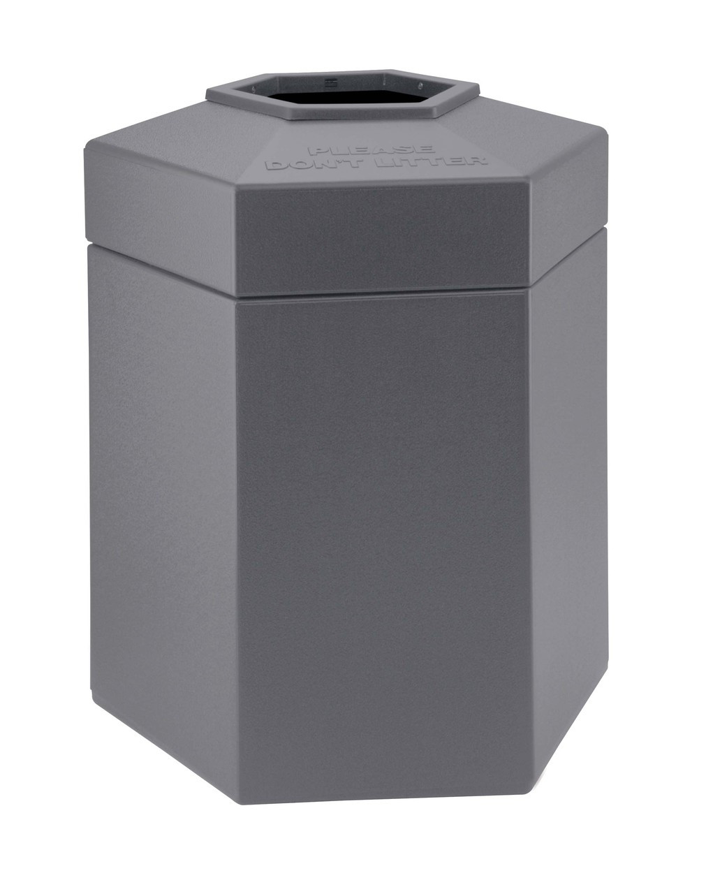 45 Gallon All Season Indoor Outdoor Hexagon Plastic Garbage Can Gray