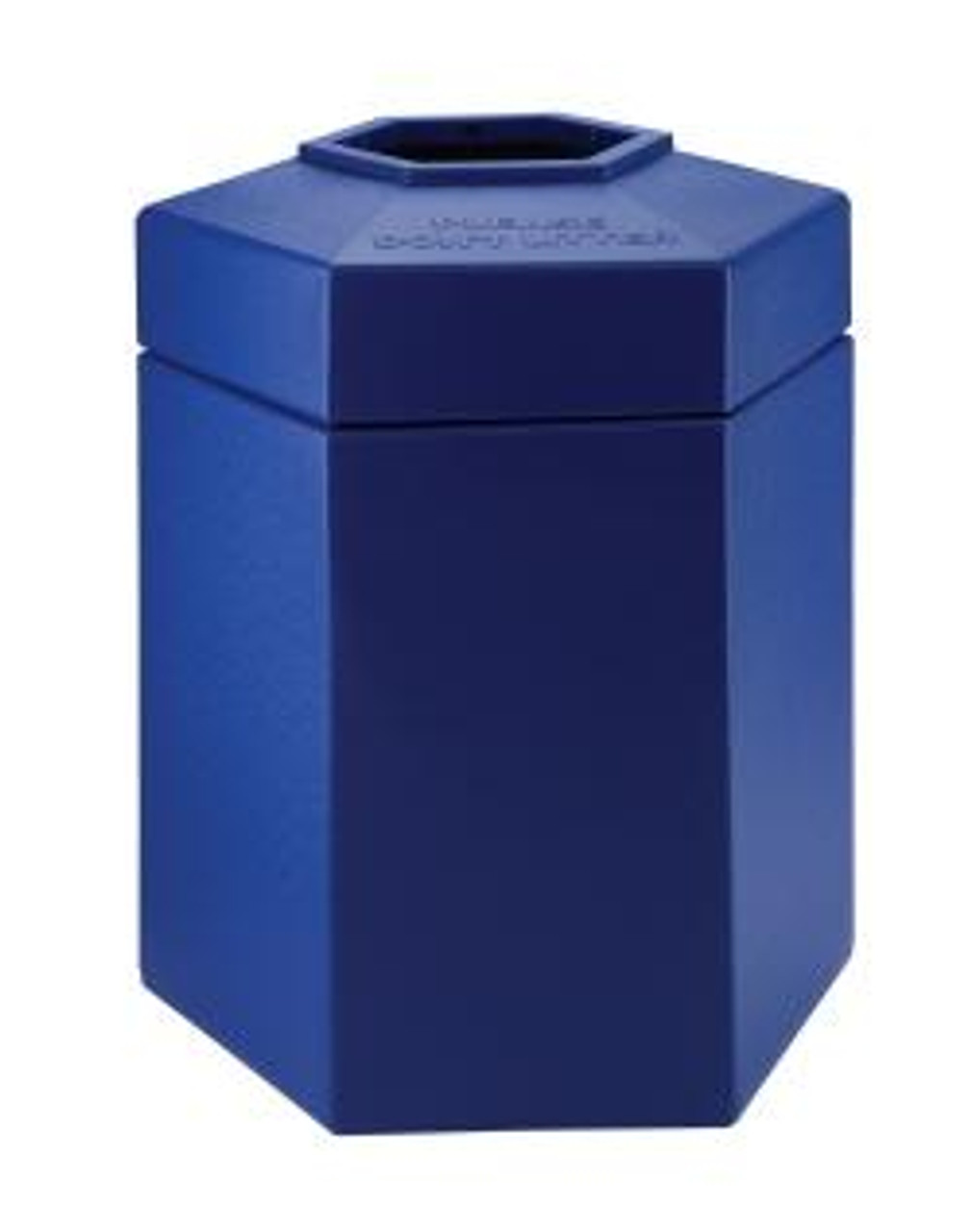 45 Gallon All Season Indoor Outdoor Hexagon Plastic Garbage Can Blue