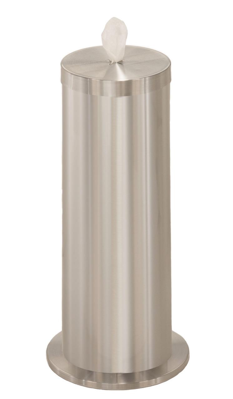 Sanitizing Wipe Dispenser F1027 with Wipe Storage & Weighted Base Satin Aluminum