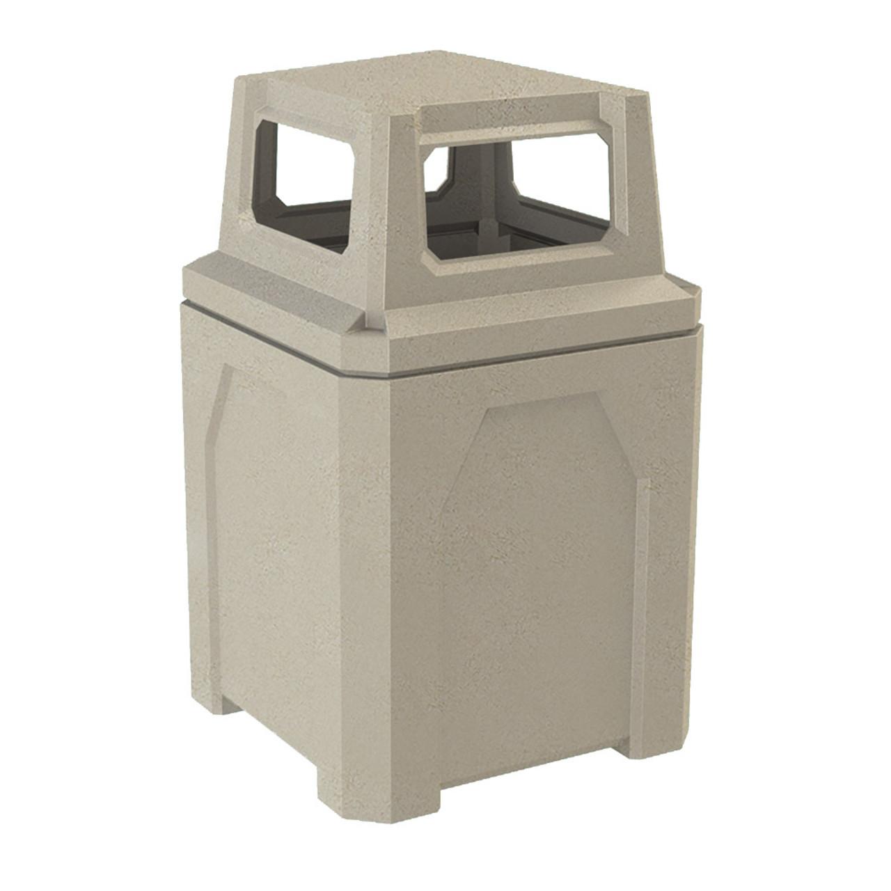 52 Gallon Kolor Can Square Plastic Outdoor Trash Can S7301A-00 BEIGE GRANITE
