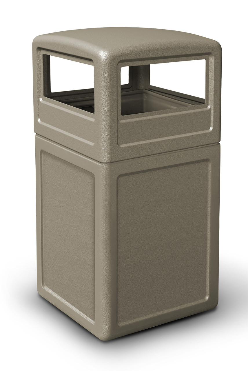 42 Gallon All Season Square Plastic Outdoor Garbage Can with Dome Lid Beige