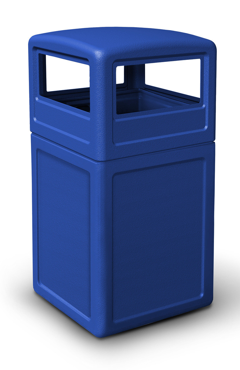 42 Gallon All Season Square Plastic Outdoor Garbage Can with Dome Lid Blue