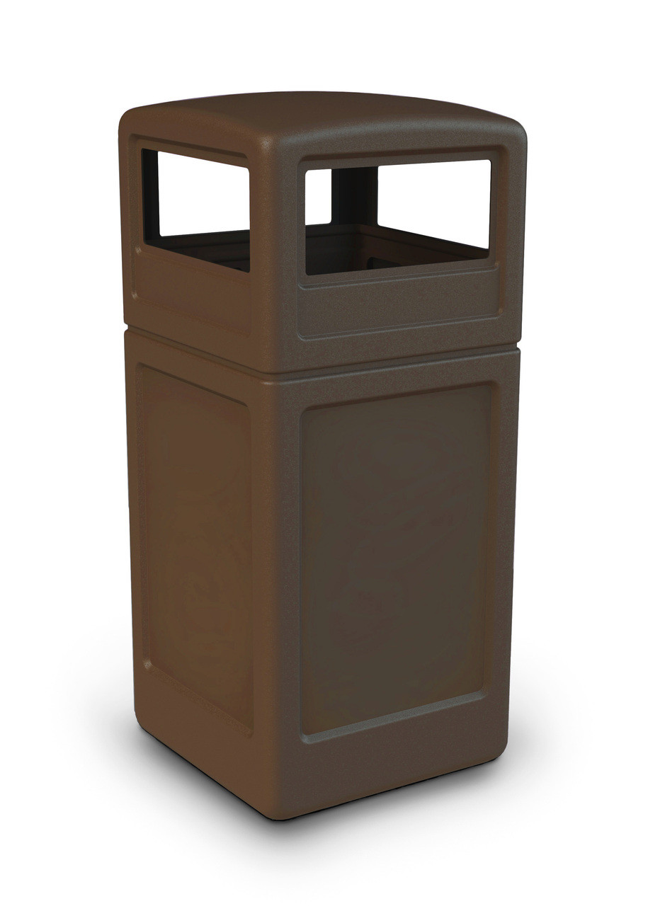 42 Gallon All Season Square Plastic Outdoor Garbage Can with Dome Lid Brown