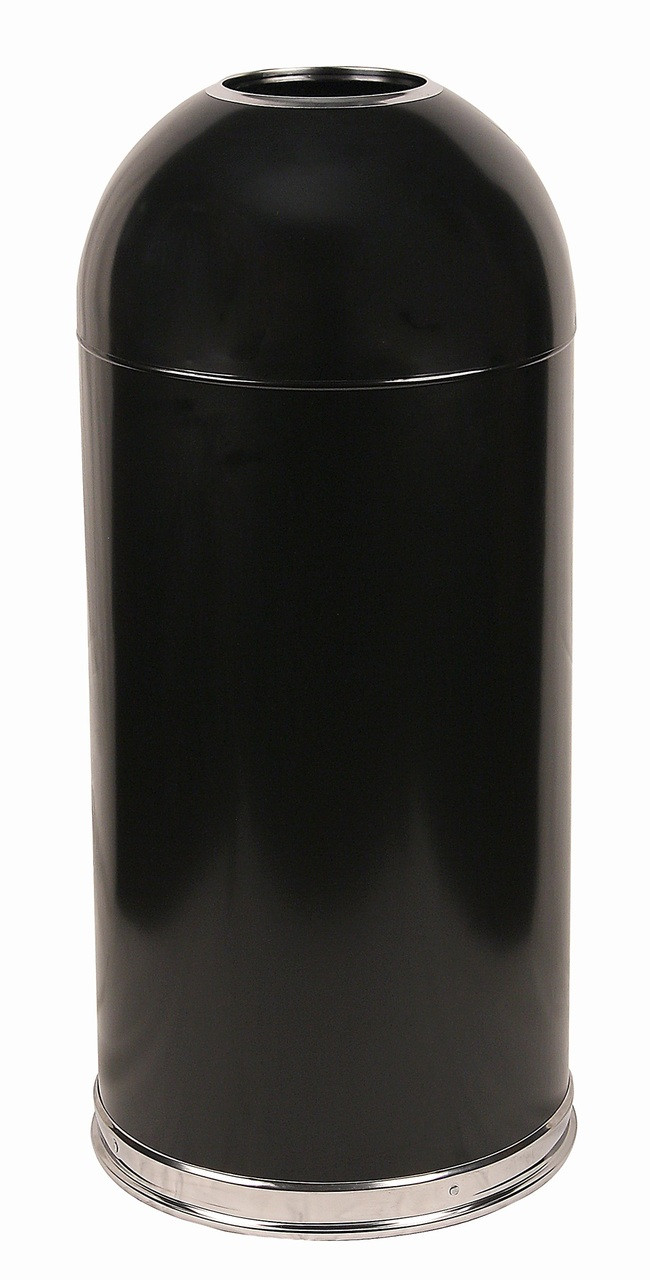 12 Gallon Metal Black Open Dome Top Trash Can 412DTBK