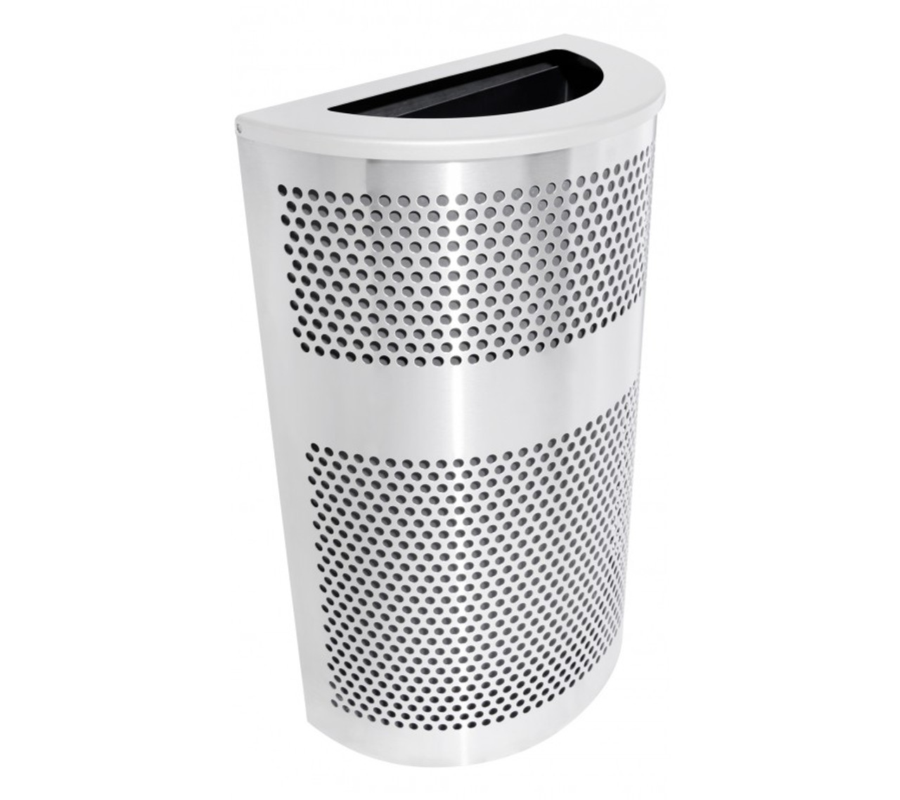 20 Gallon Perforated Half Round Stainless Steel Trash Can VC2234 HR SS/PLTNM