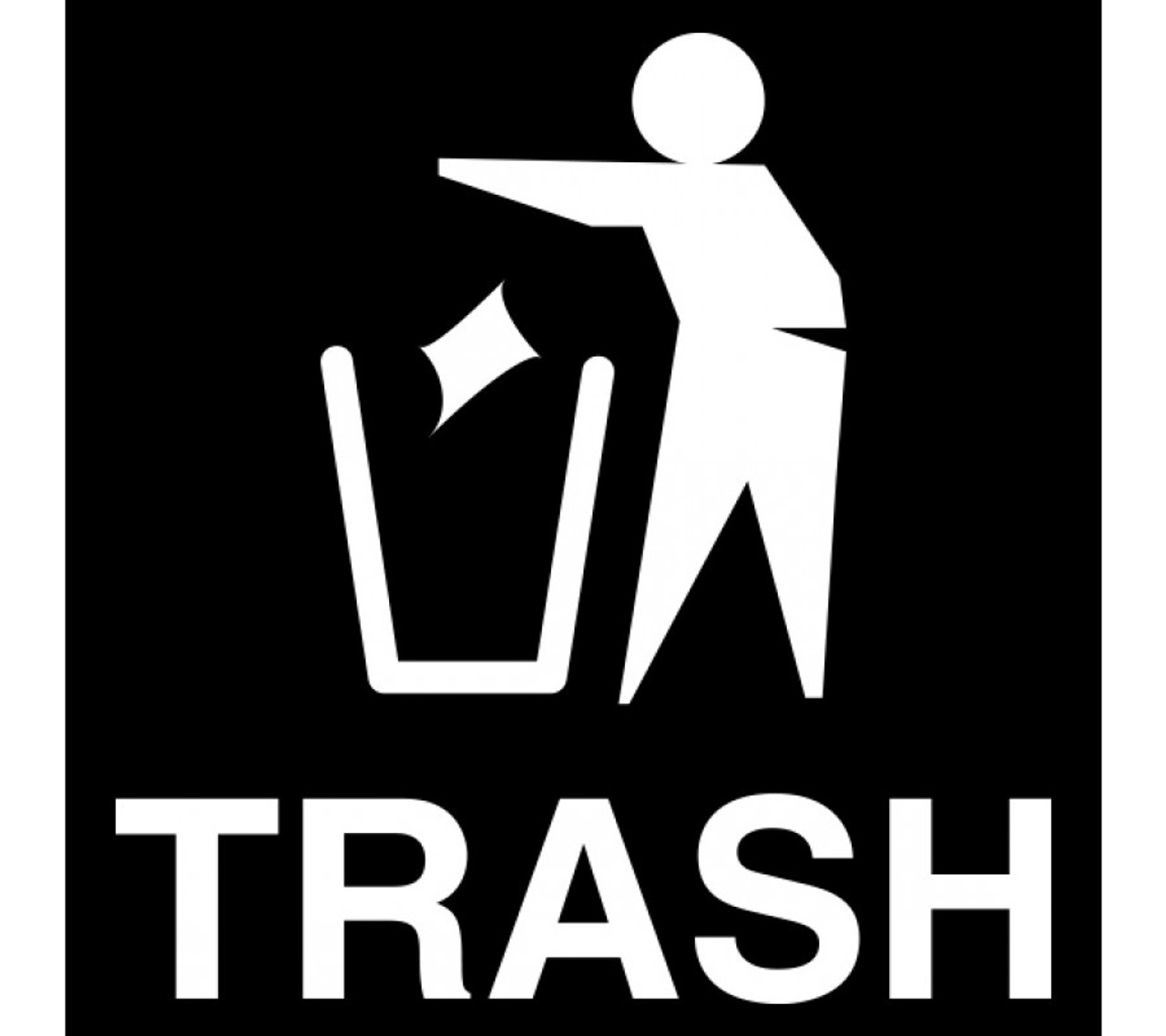 White Vinyl TRASH MAN Decal for Ellipse Trash Cans 45-RGU-002 FG