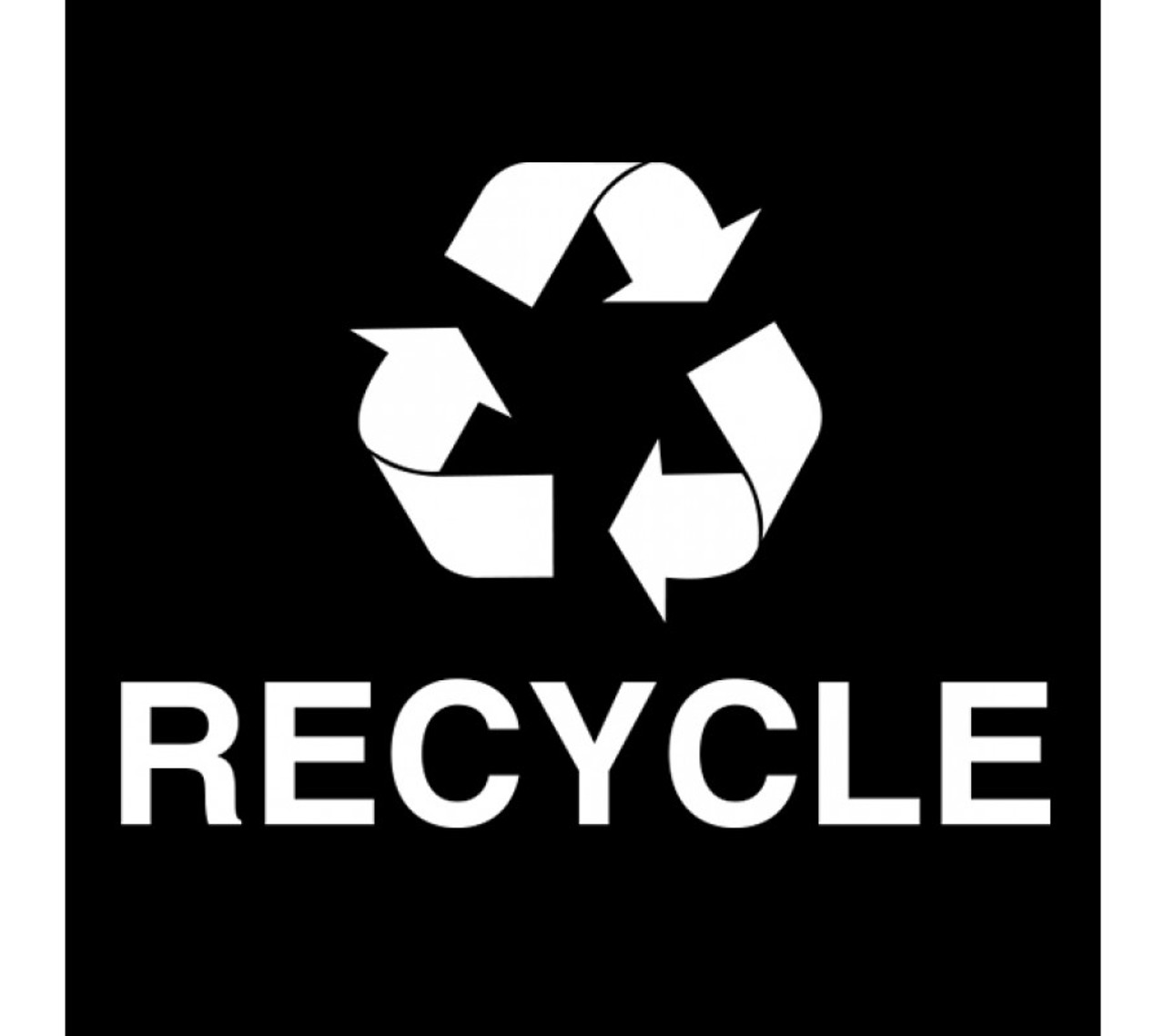 White Vinyl RECYCLE Decal for Ellipse Trash Cans 45-RGU-001 FG