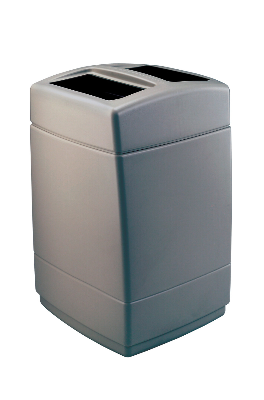 55 Gallon 2 Opening Square Plastic Outdoor Garbage Can Charcoal