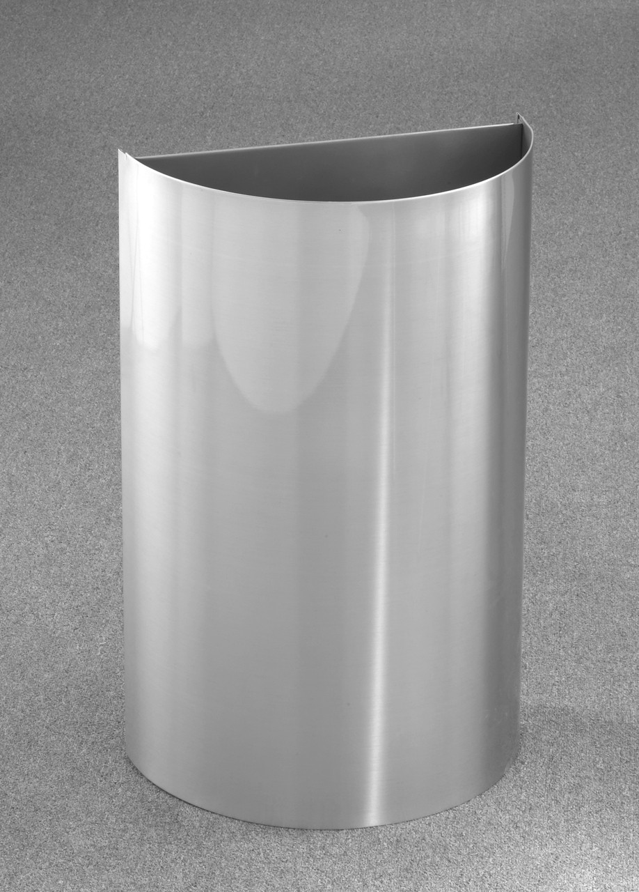 16 Gallon Half Round Open Top Trash Can Satin Aluminum