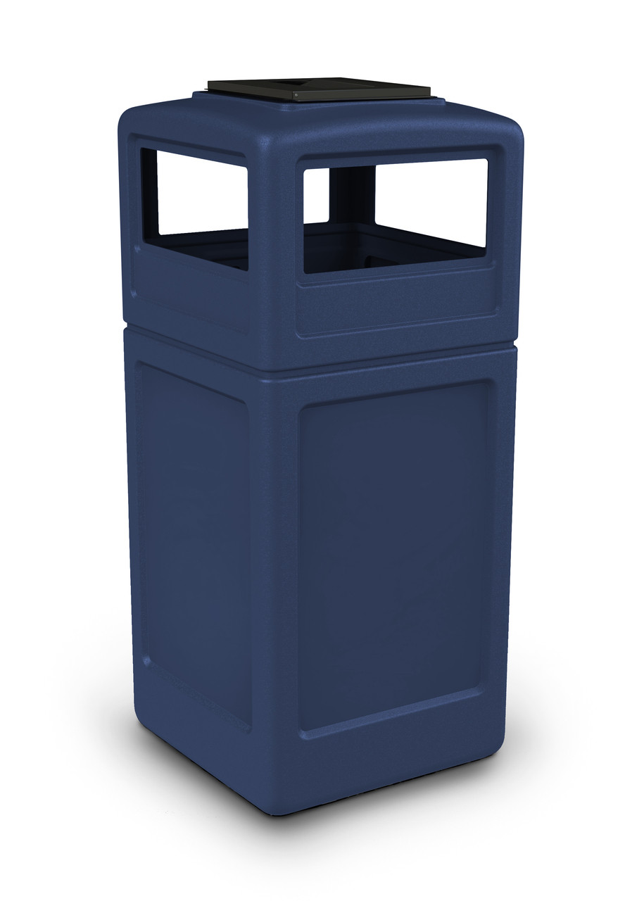 42 Gallon Square Outdoor Garbage Can Dome Lid and Ashtray Dark Blue
