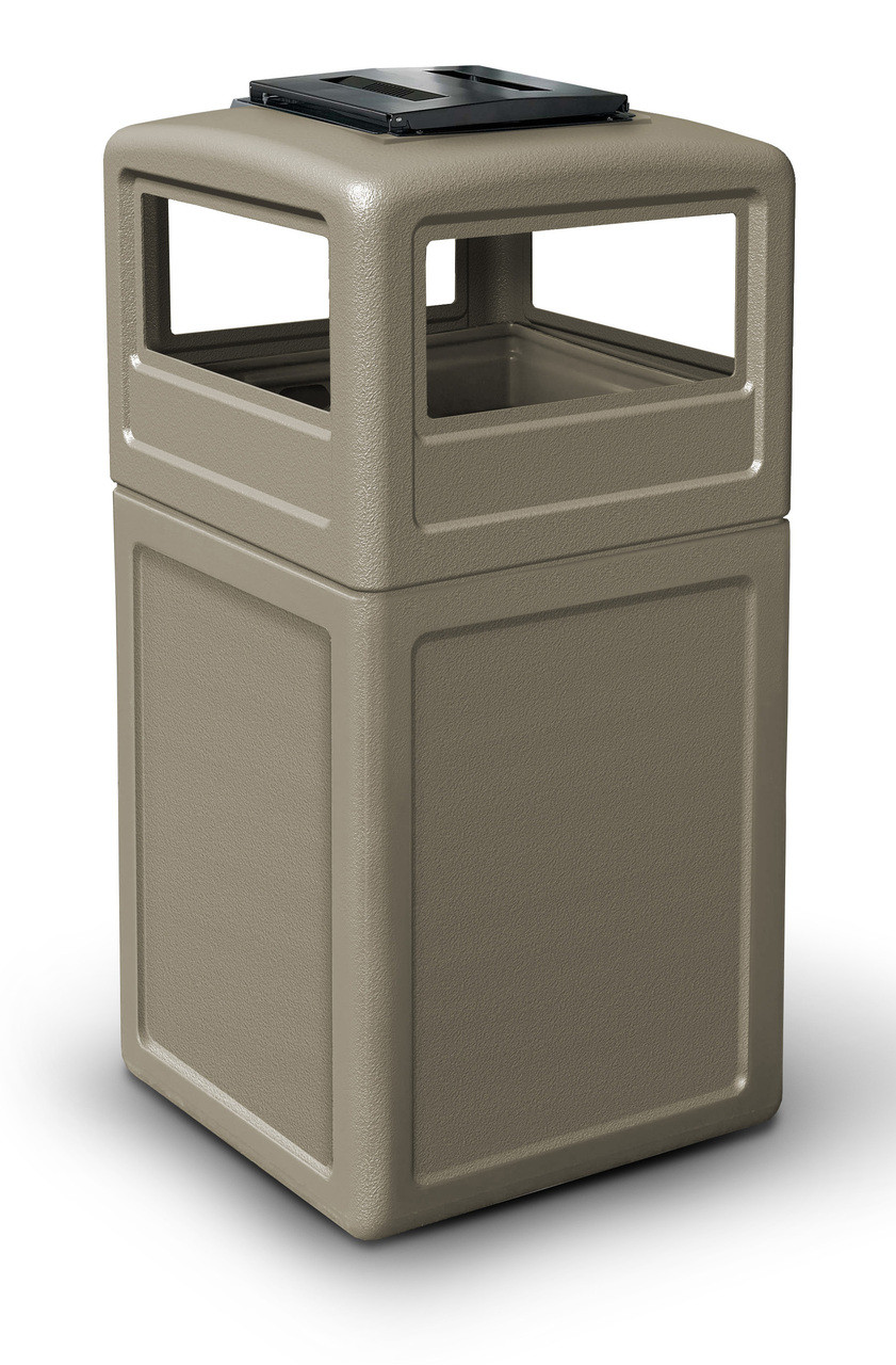 42 Gallon Square Outdoor Garbage Can Dome Lid and Ashtray Beige