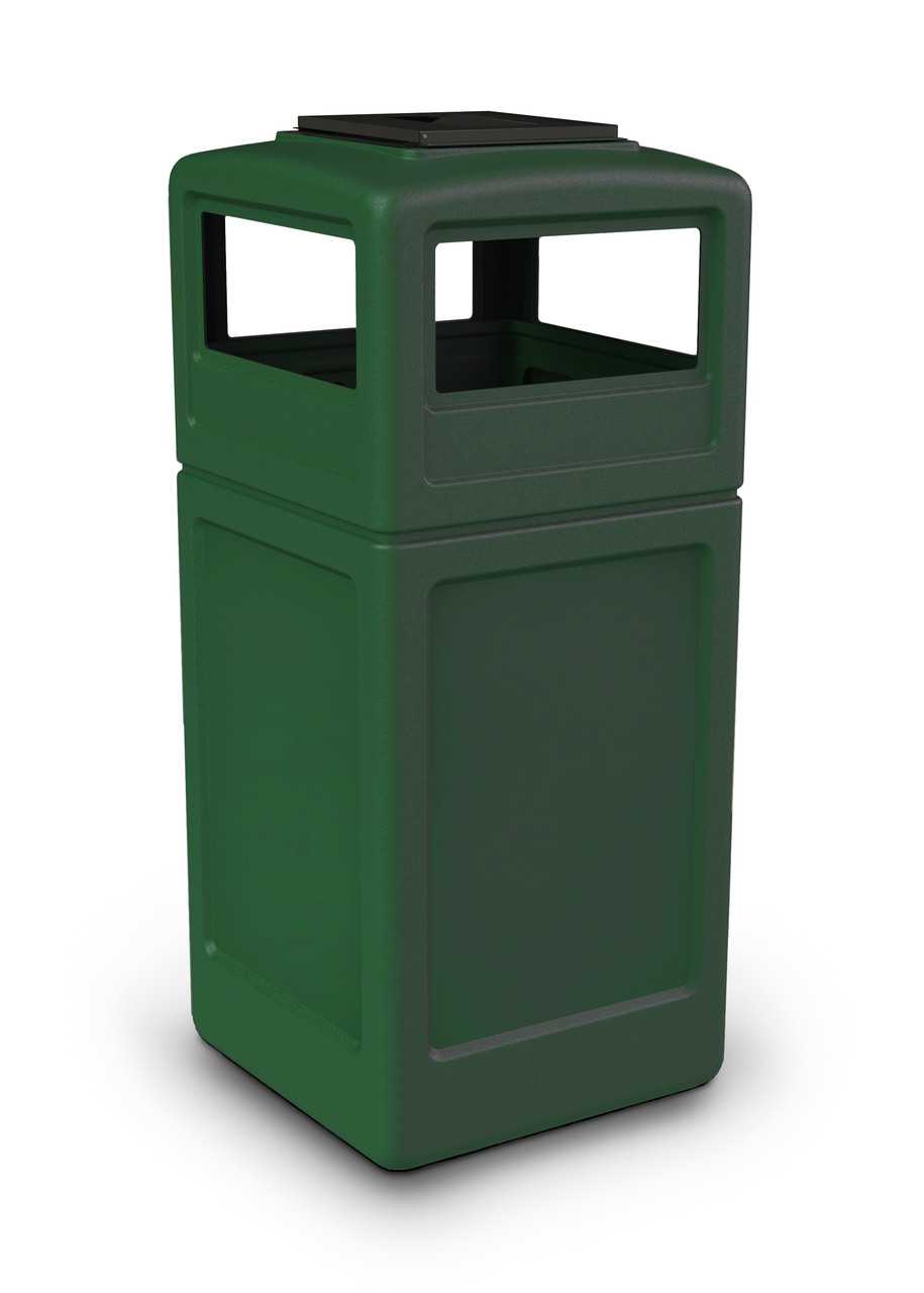 42 Gallon Square Outdoor Garbage Can Dome Lid and Ashtray Green