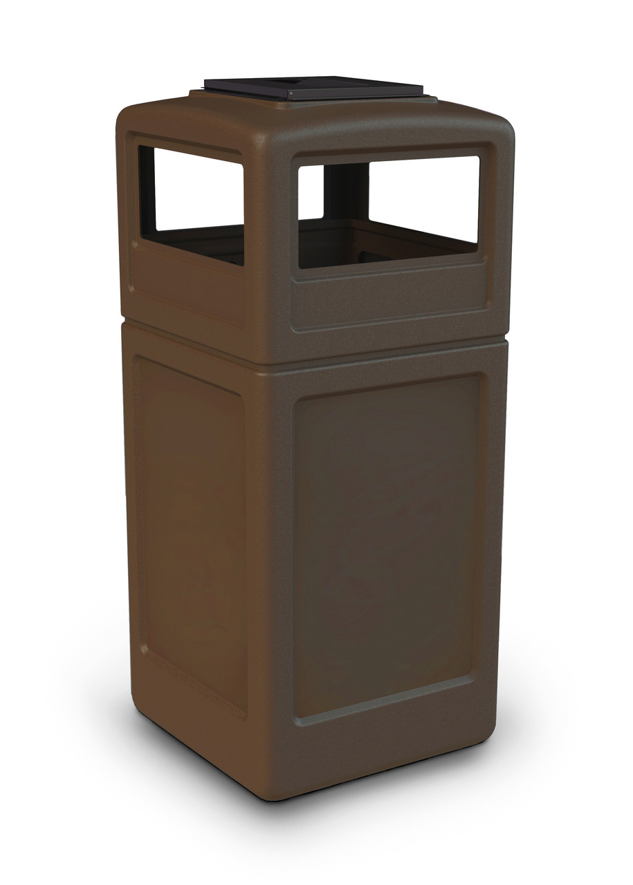 42 Gallon Square Outdoor Garbage Can Dome Lid and Ashtray Brown