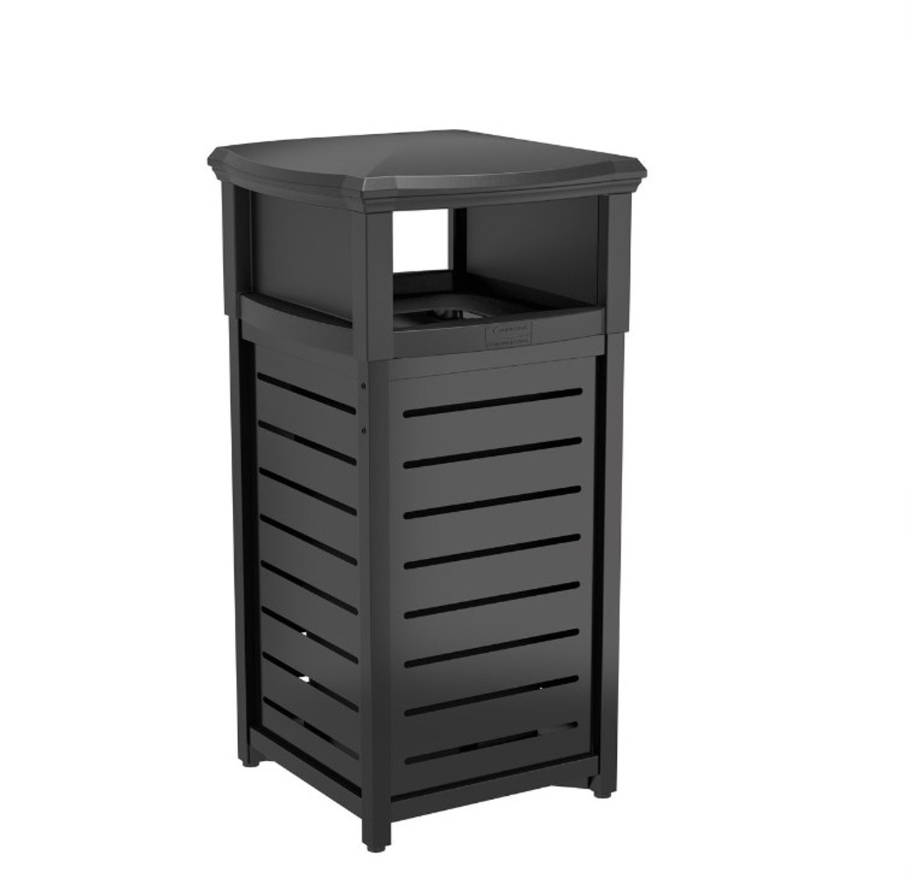 30 Gallon Square Thermoplastic Metal Trash Can with 2 Way Lid MTCSQ300