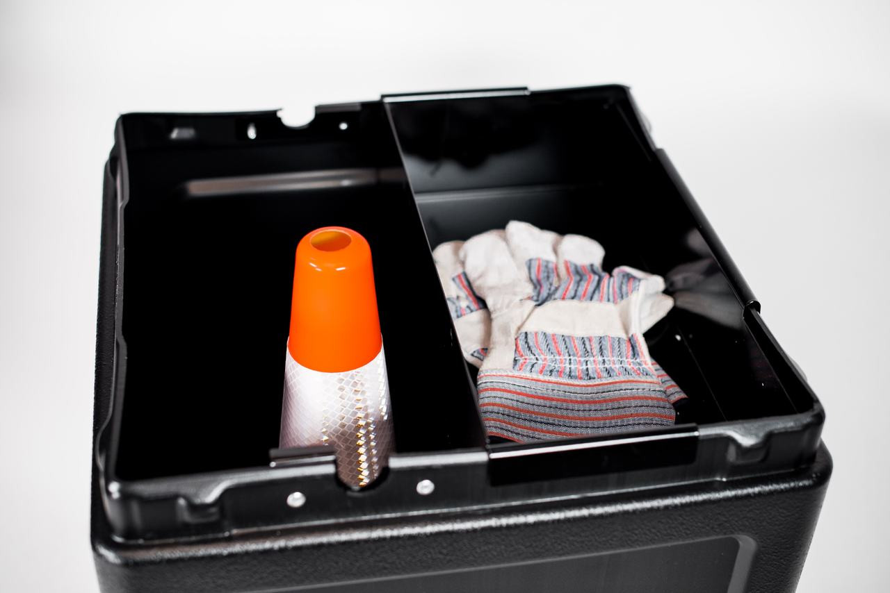 Inside View with Included Shelf Black (Safety Cone and Gloves Not Included)