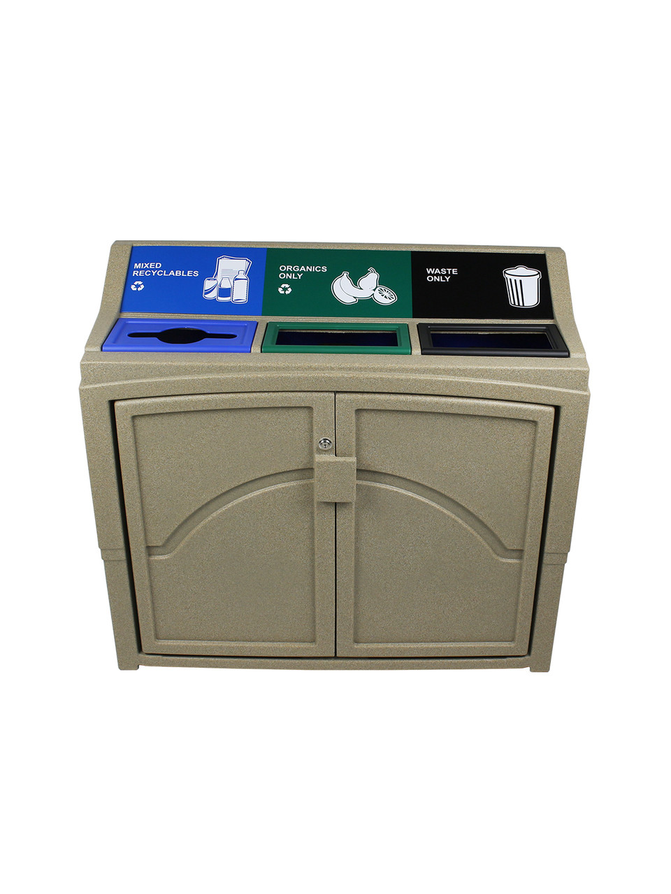66 Gallon Indoor Pavilion Recycling Bin Sandstone 101451 (Mixed-Full-Full)