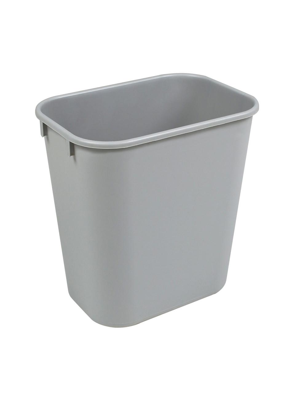 14 Quart Plastic Office Desk Side Wastebaskets Gray 14Q-GY (30 Pack)