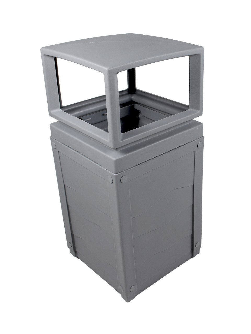 50 Gallon Evolve Cube Covered Trash Can Gray 101649