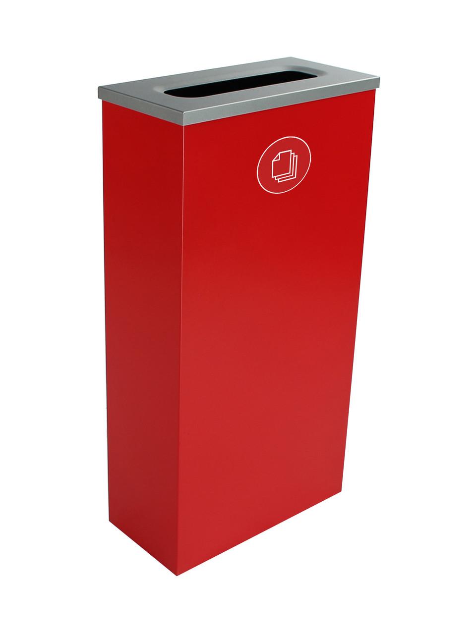 10 Gallon Steel Spectrum Slim Paper Collector Recycle Bin Red 8107066-3