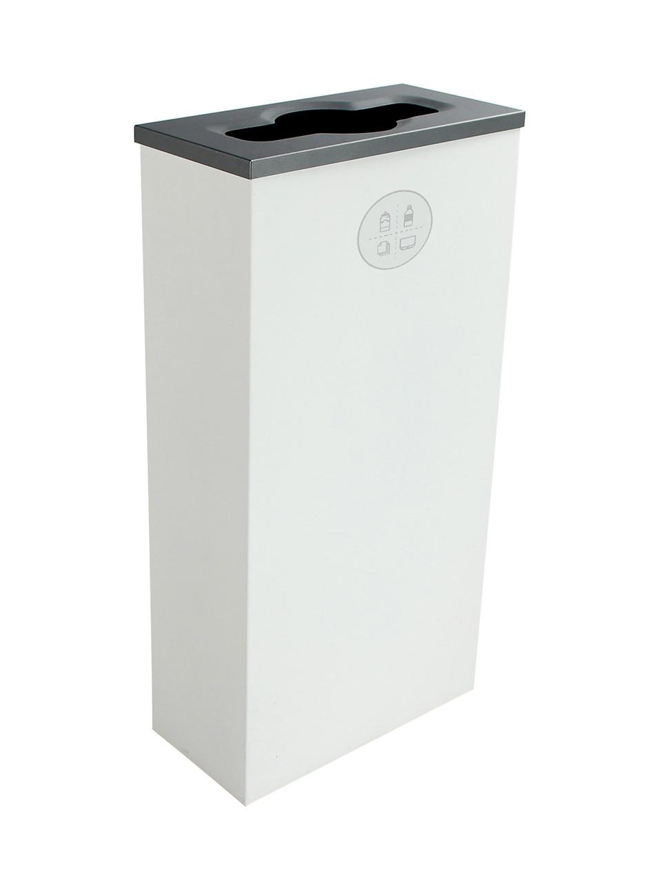 10 Gallon Steel Spectrum Slim Mixed Recycling Bin White 8107061-2