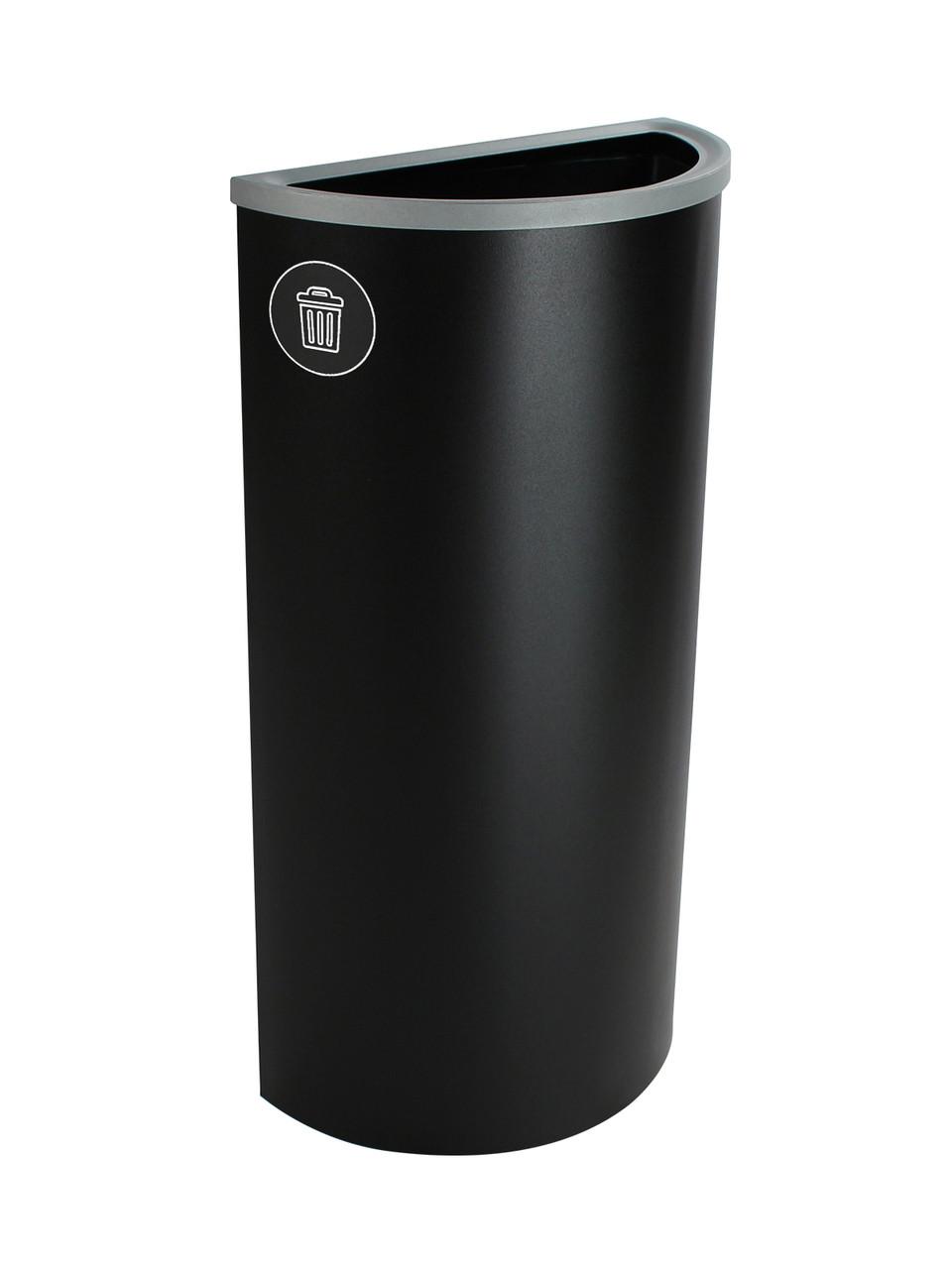 8 Gallon Steel Spectrum Half Round Trash Can Black 8107030-4