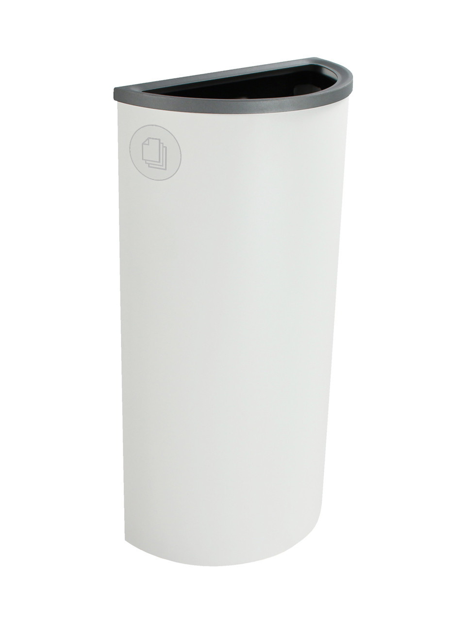 8 Gallon Steel Spectrum Half Round Paper Collector Recycle Bin White 8107029-4