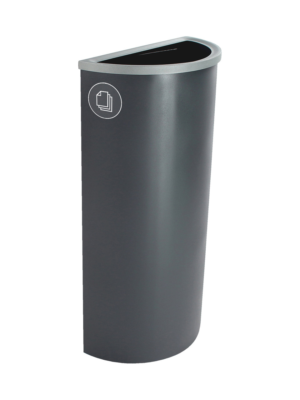 8 Gallon Steel Spectrum Half Round Paper Collector Recycle Bin Gray 8107027-4