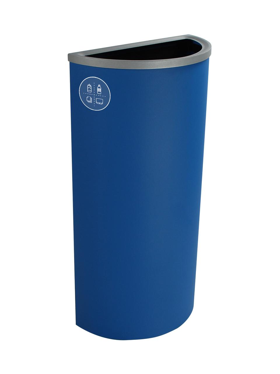 8 Gallon Steel Spectrum Half Round Multi Recycle Bin Blue 8107023-4