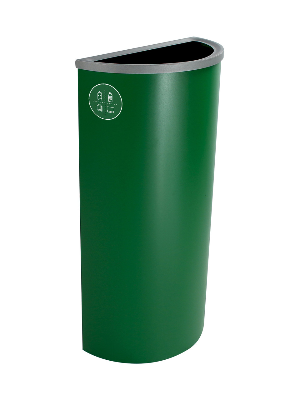 8 Gallon Steel Spectrum Half Round Multi Recycle Bin Dark Green 8107024-4