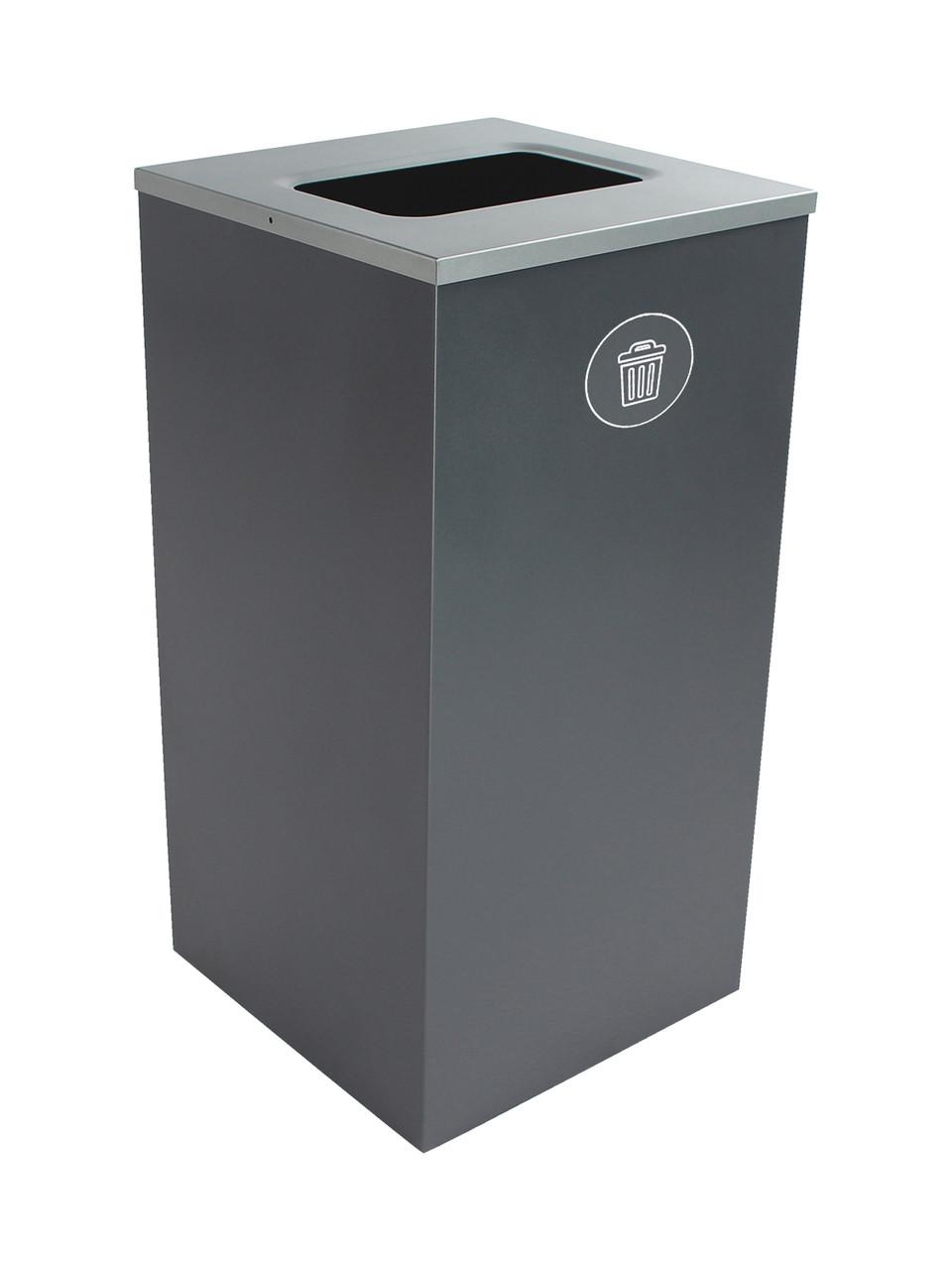 24 Gallon Steel Spectrum Cube Square Waste Can Gray 8107049-4