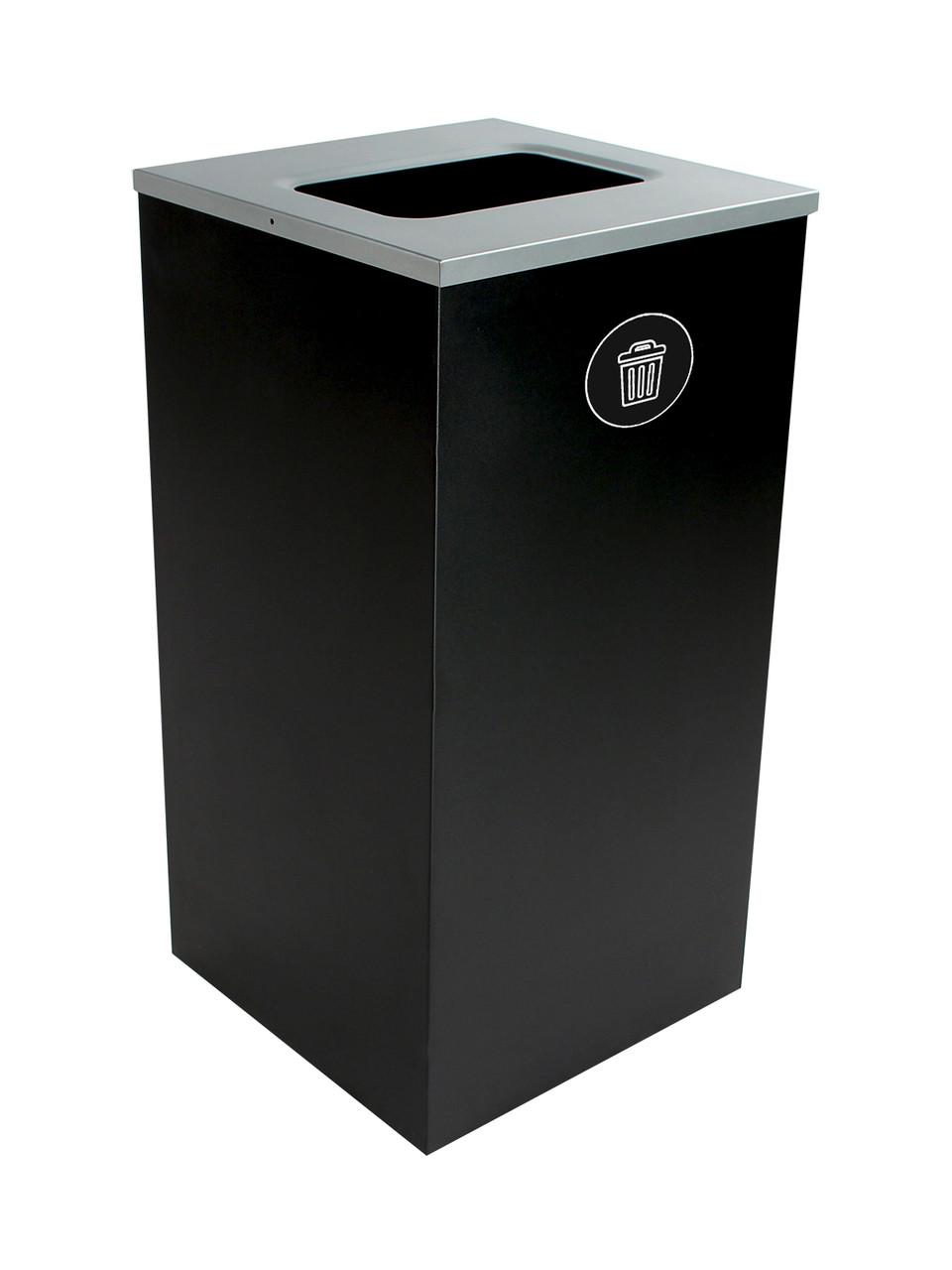 24 Gallon Steel Spectrum Cube Square Waste Can Black 8107048-4