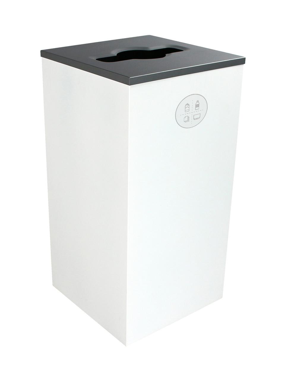 24 Gallon Steel Spectrum Cube Square Multi Recycler White 8107043-2