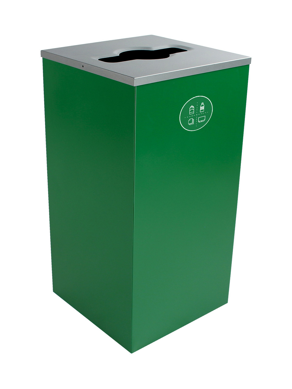 24 Gallon Steel Spectrum Cube Square Multi Recycler Dark Green 8107042-2