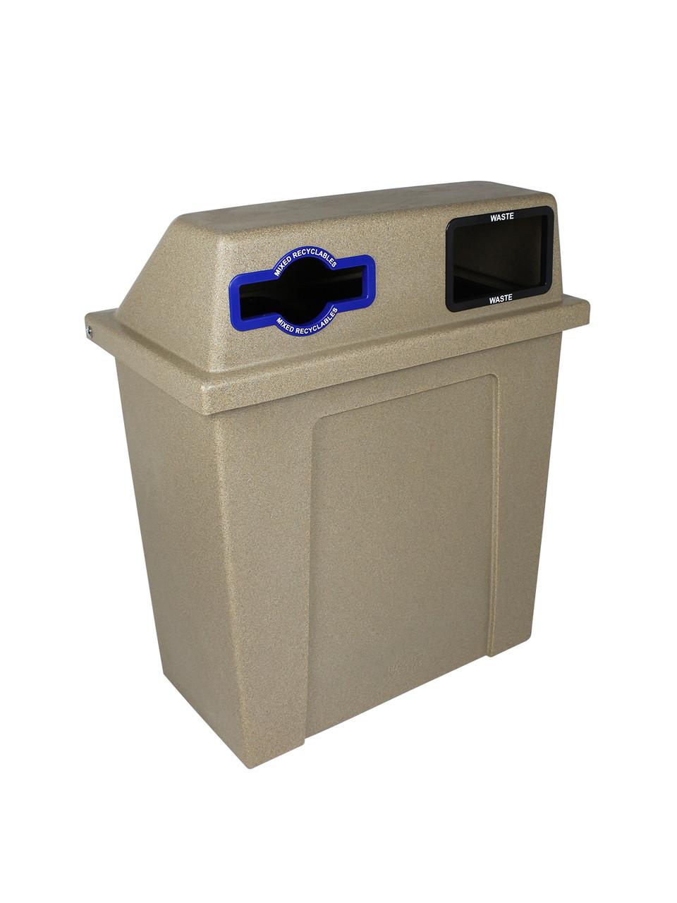 64 Gallon Plastic Dual 2 in 1 Recycling Bin Sandstone 101434