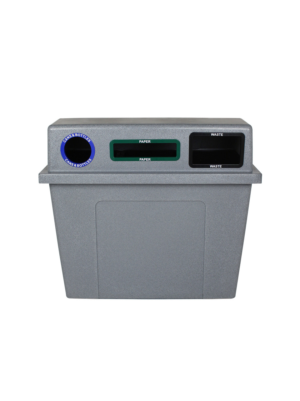 96 Gallon Plastic Dual 3 in 1 Recycling Bin Graystone 101436 (Circle, Slot, Full)