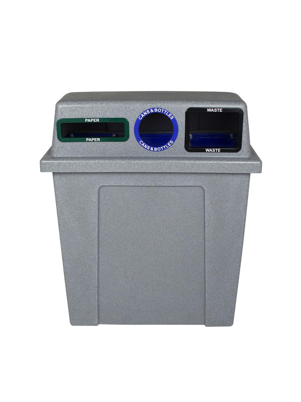 96 Gallon Plastic Dual 3 in 1 Recycling Bin Graystone 101438 (Slot, Circle, Full)