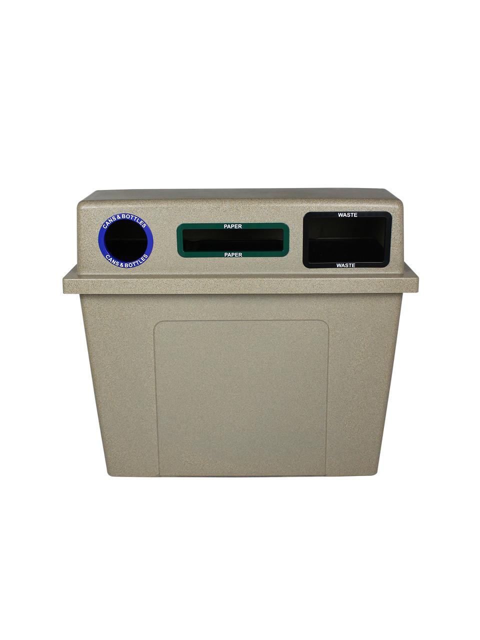 96 Gallon Plastic Dual 3 in 1 Recycling Bin Sandstone 101437 (Circle, Slot, Full)