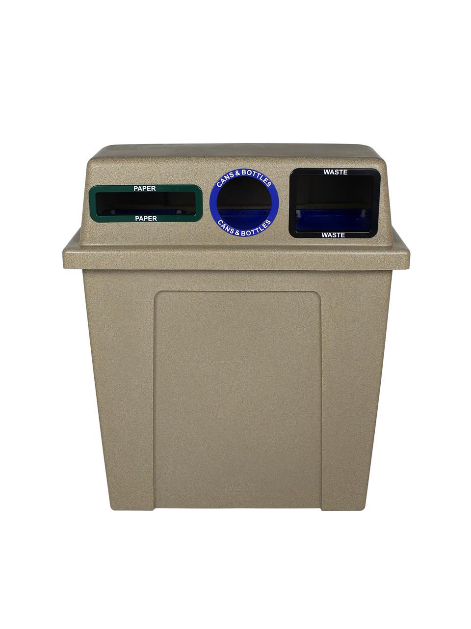 96 Gallon Plastic Dual 3 in 1 Recycling Bin Sandstone 101439 (Slot, Circle, Full)