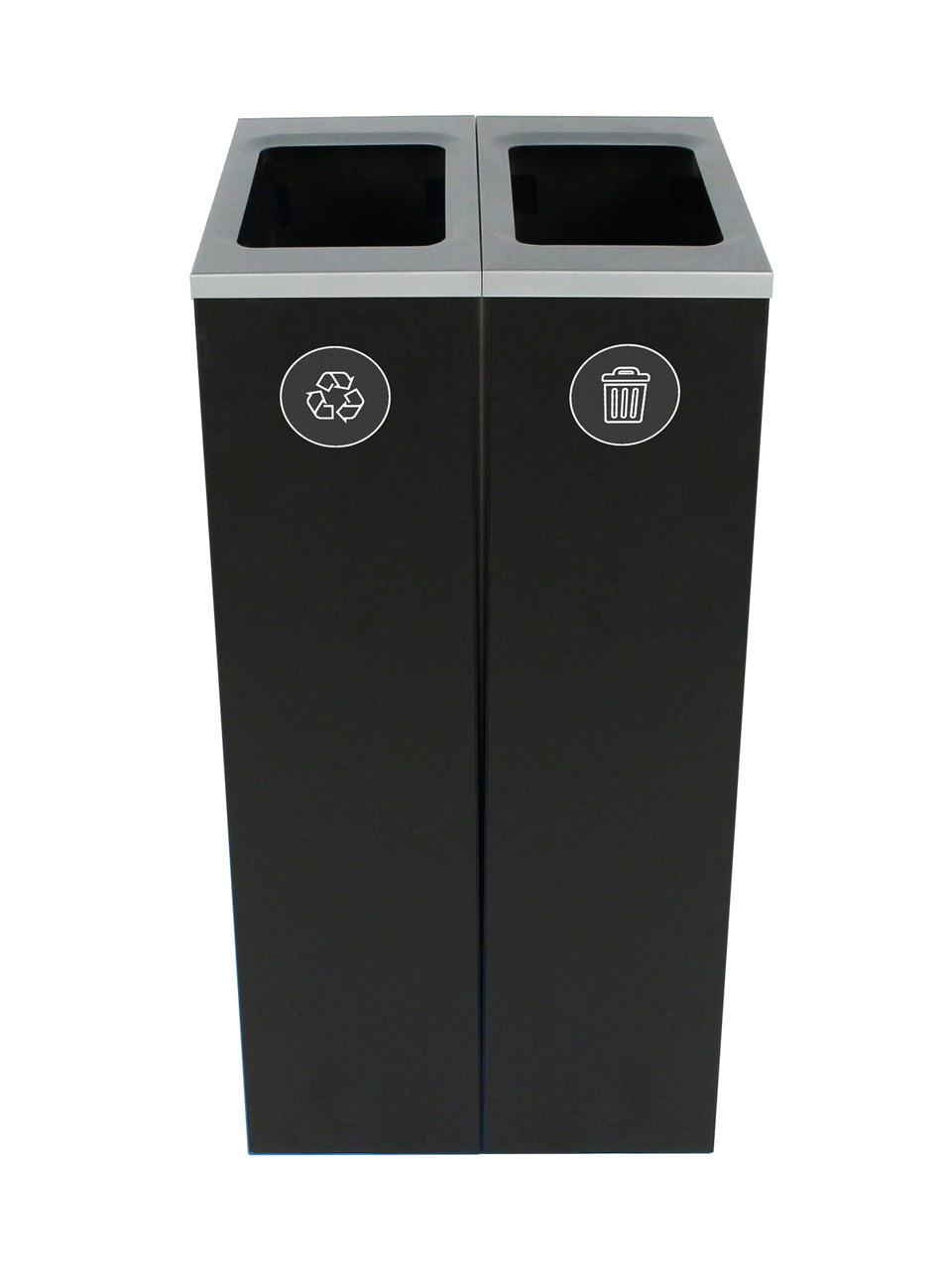 20 Gallon Spectrum Slim Dual Trash Can & Recycle Bin Black 8107100-44