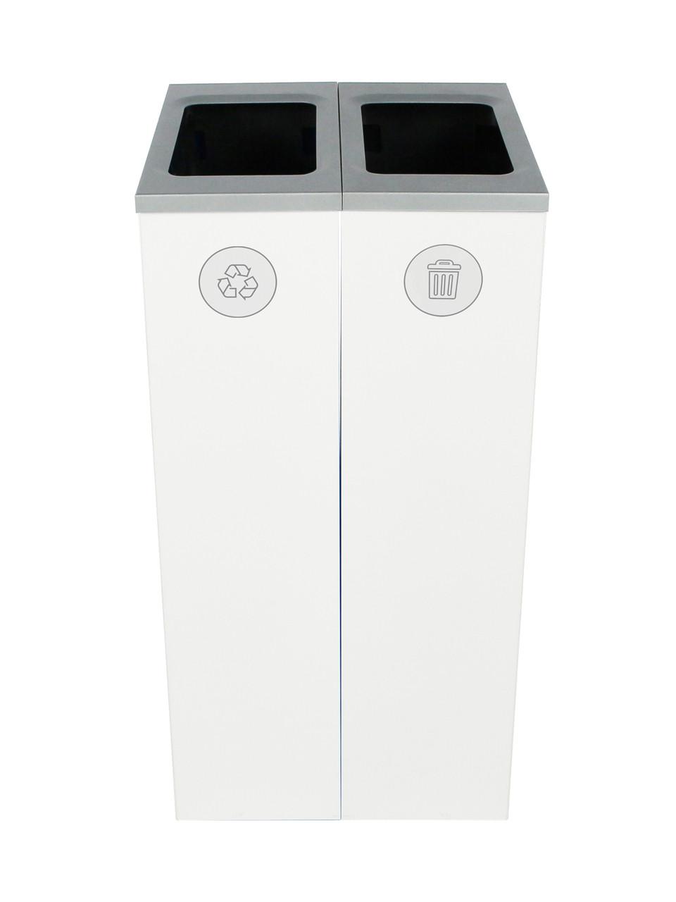 20 Gallon Spectrum Slim Dual Trash Can & Recycle Bin White 8107099-44