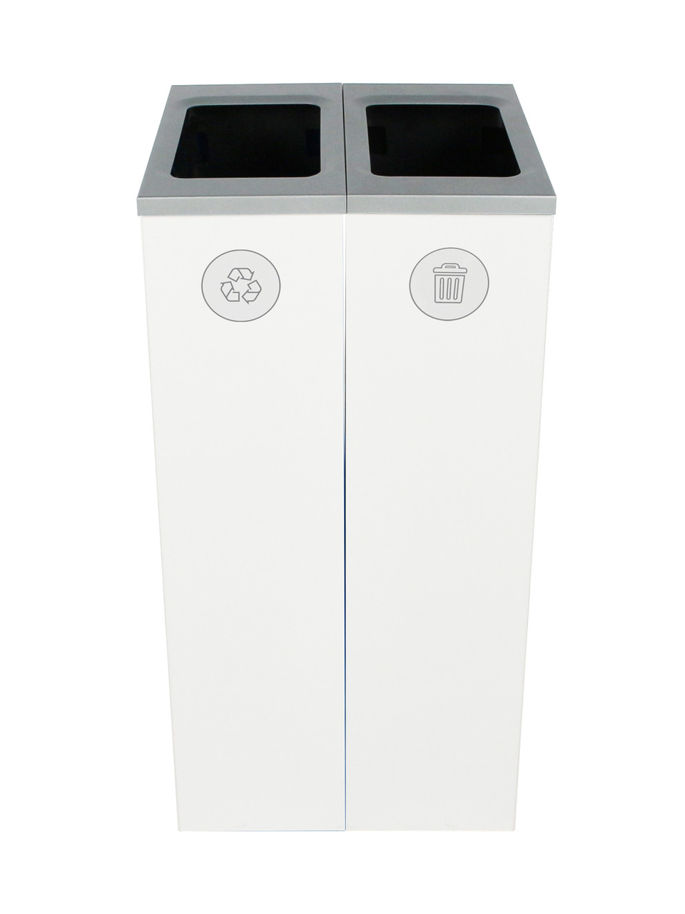 20 Gallon Spectrum Slim Dual Trash Can & Recycle Bin White 8107099-44