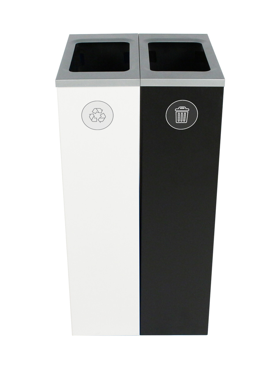 20 Gallon Spectrum Slim Dual Trash Can & Recycle Bin White/Black 8107098-44
